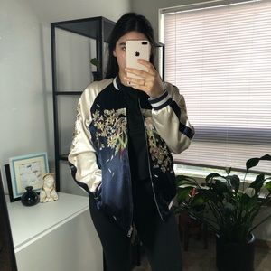 ReversibleSilk Embroidered Opening Ceremony Bomber